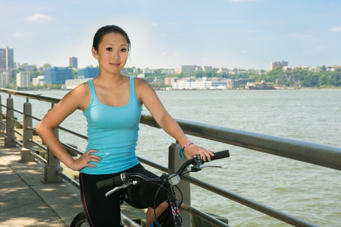 Kristine Feng, at the Chelsea Pier in Manhattan who hopes she will can finish the Ride2Freedom tour in mainland China. (Benjamin Chasteen/Epoch Times)