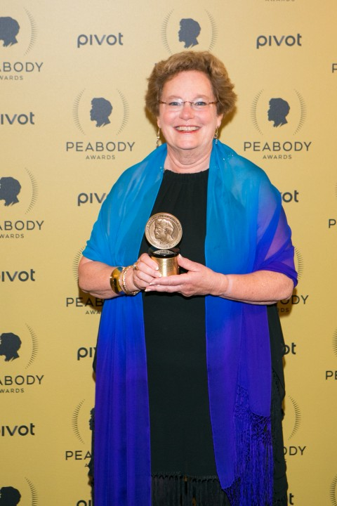 "Producer/director Abby Ginzberg holds her award for ""Soft Vengeance"" at the 74th Peabody Awards at Cipriani Wall Street in Manhattan on May 31, 2015. (Benjamin Chasteen/Epoch Times)"