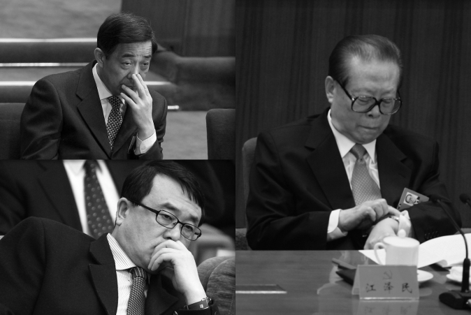 (Clockwise )Bo Xilai, Jiang Zemin, Wang Lijun. (Feng Li/Getty Images)