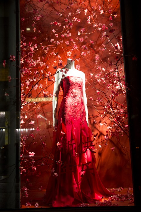 A dress celebrating the Chinese New Year at the Bergdorf Goodman store on 5th Ave in New York City on Feb. 11, 2015. (Larry Dye/Epoch Times)
