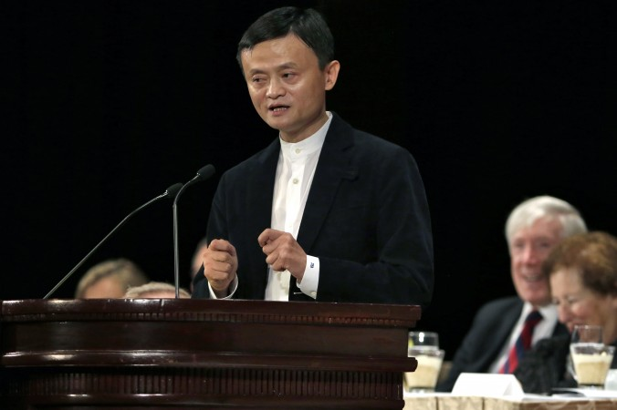 Alibaba Executive Chairman Jack Ma speaks during a luncheon of the Economic Club of New York, at the Waldorf Astoria Hotel, in New York, Tuesday, June 9, 2015. (AP Photo/Richard Drew)