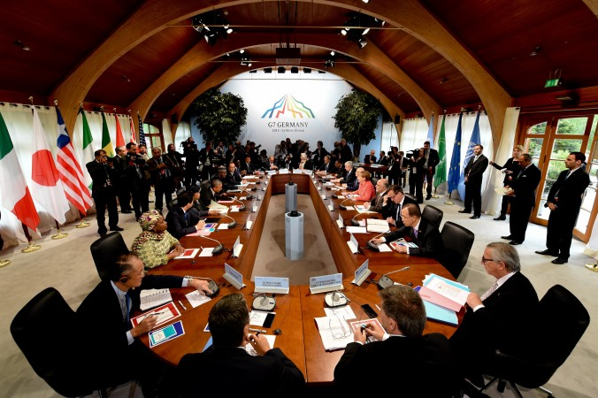 G7 meeting session on the second day of the G7 summit at the Elmau Castle near Garmisch-Partenkirchen, southern Germany, on June 8, 2015. Leaders at G7 declared their opposition to the Chinese regime's land-grab in the South China Sea. (Sven Hoppe/AFP/Getty Images)