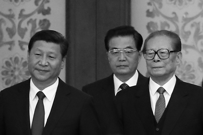 Chinese Communist Party General Secretary Xi Jinping (L) and his predecessors Hu Jintao and Jiang Zemin (R) in the Great Hall Of The People on Sept. 30, 2014 in Beijing, China. Since being installed in office in November 2012, Xi has led a campaign that is uprooting Jiang Zemin's influence in the Party. (Feng Li/Getty Images)