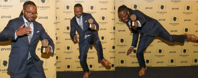 "Al Letson, host and executive producer fior ""State of the Union,"" performs a dance for photographers at the 74th Peabody Award at the Cipriani Wall Street in Manhattan on May 31, 2015. (Benjamin Chasteen/Epoch Times)"