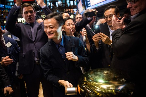 Jack Ma at bell to celebrate as the Alibaba stock goes live during the company's initial price offering (IPO) at the New York Stock Exchange on Sept. 19, 2014. (Andrew Burton/Getty Images)