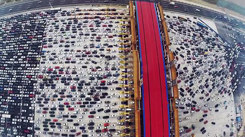 Drone Video Captures the Mother of All Traffic Jams