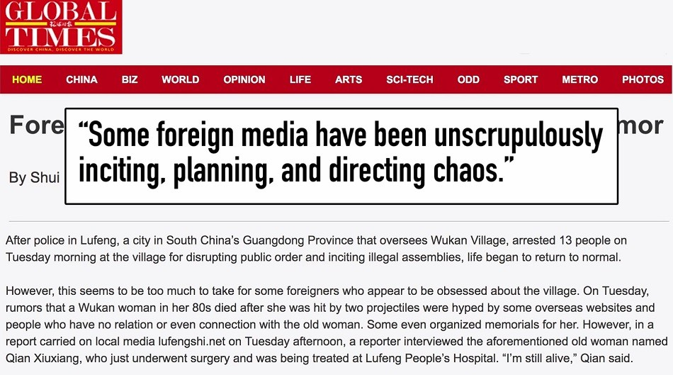 A screenshot of an article by nationalistic state-run tabloid Global Times that said protests in southern China were the work of 'foreign forces.' (Image: China Uncensored via YouTube/Screenshot)
