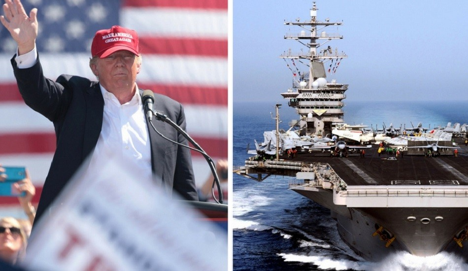 President-elect Donald Trump says he wants to rebuild the U.S. Navy toward a goal of 350 ships. (Trump image: Gage Skidmore via flickr/ CC BY 2.0, Navy image: Wikipedia Commons)