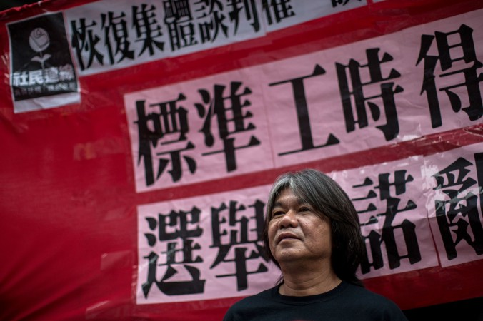 "Pro-democracy lawmaker ""Long Hair"" Leung Kwok-hung attends a May Day rally in Hong Kong on May 1, 2015. (Anthony Wallace/AFP/Getty Images)"