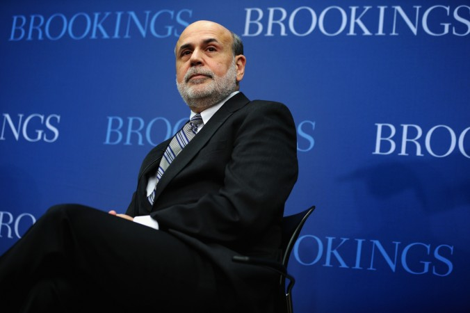 Federal Reserve Board Chairman Ben Bernanke sits during a session at the Brookings Institution January 16, 2014 in Washington, DC. (Alex Wong/Getty Images)