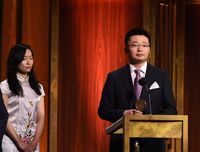 Director Leon Lee accepts award onstage during The 74th Annual Peabody Awards Ceremony at Cipriani Wall Street on May 31, 2015 in New York City. (Photo by Ilya S. Savenok/Getty Images for Peabody Awards)