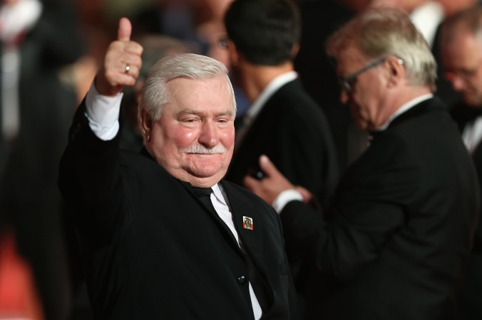 Former Polish president Lech Walesa attends the