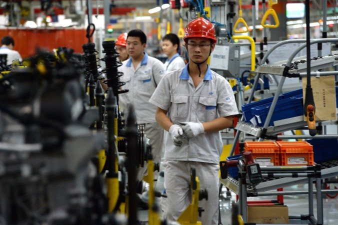 The assembly line at the FAW-Volkswagen plant in Chengdu, Sichuan province, on July 6, 2014.  China is attempting to build an advanced manufacturing base. (Goh Chai Hin/AFP/Getty Images)