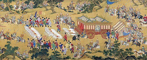 The painting 'Departure Herald' shows the emperor's large procession heading toward the imperial tombs of the Ming emperors. (Image:  wikipedia /  CC0 1.0)