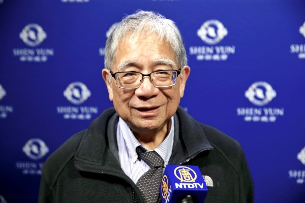 Dr. Sunney Chan, former vice president of Academia Sinica, speaks highly of Shen Yun Symphony Orchestra's performance at the Keelung Cultural Center Performance Hall on September 21st. (Image: Bai Chuan/Epoch Times)